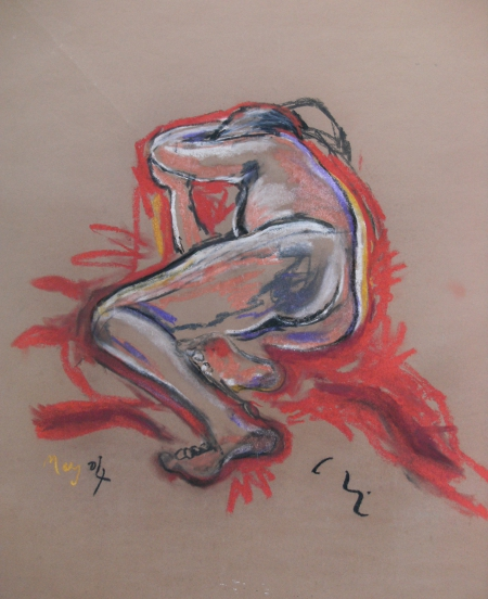 Untitled, Wuppertal 2004, Pastel on brown paper by Chistopher Good