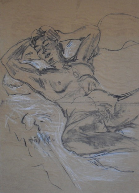 Ose, charcoal on brown paper, 90 x 70cm, 2004, by Chistopher Good